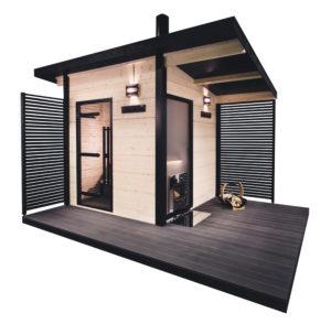 Harvia Solide Outdoor 1 -pihasauna sopii saunaksi vaikka kaupunkitontille. Hinta alk. 8 990 e, Harvia. (Hinta sisältää myös kiukaan, piipun ja lauteet, mutta ei saunarakennusta
