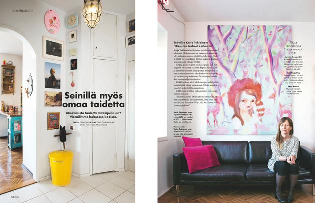 Katja Tukianen ja muut taiteilijat näyttävät millaista taidetta heidän seinillään on.