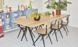 ruokapöytä ja kuusi tuolia