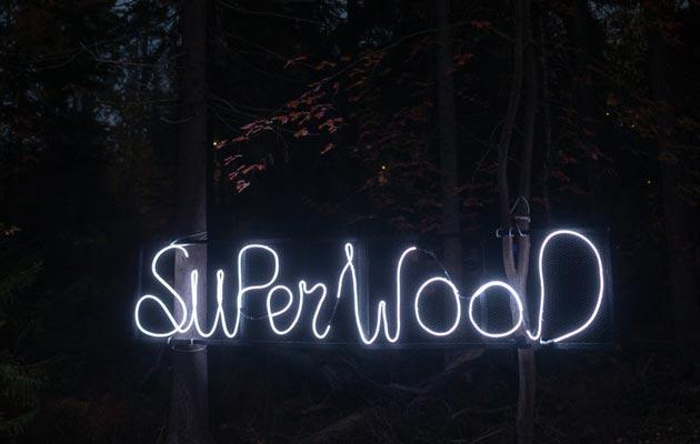 Superwood-festivaali pidetään Helsingin Vuosaaressa keskellä pimeintä syksyä.